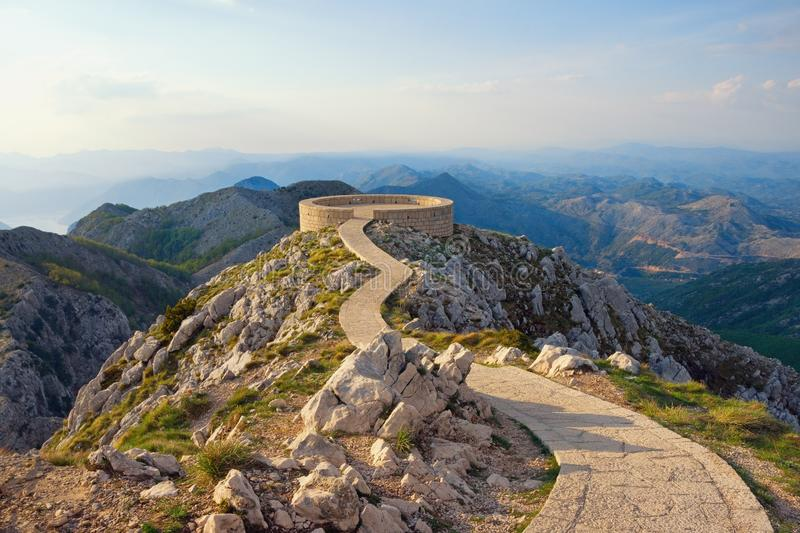 Beautiful mountain landscape with a footpath and observation deck in Lovcen National Park. Montenegro. Dinaric Alps royalty free stock photos