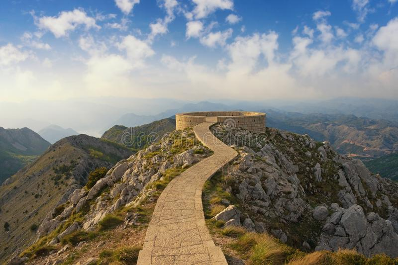 Beautiful mountain landscape with a footpath and observation deck in Lovcen National Park. Montenegro. Dinaric Alps royalty free stock photo