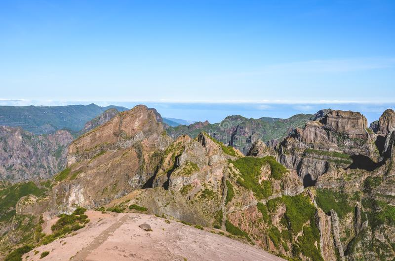 Beautiful mountain landscape with the highest peak of Madeira Pico Ruivo photographed from the Pico do Arieiro, the third highest stock photos