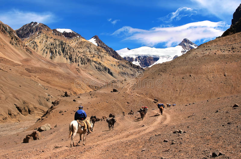 Beautiful Mountain landscape near Aconcagua. With hikers in front trekking as seen in Mendoza, Argentina, South America stock images