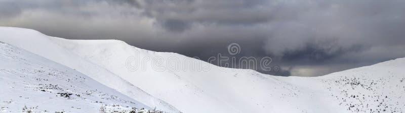 Beautiful mountain landscape panorama. Winter Carpathian snow covered mountains panoramic view. stock photos