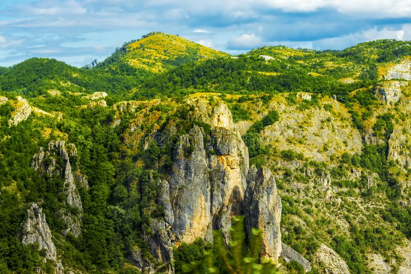 Beautiful mountain landscape on sunny summer day. Montenegro, Albania, Bosnia,  Dinaric Alps Balkan Peninsula. Ð¡an be used for. Postcards, banners, posters royalty free stock images