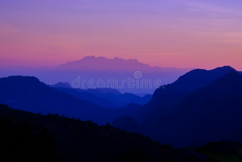 Beautiful mountain landscape at sunset at Monson viewpoint Doi AngKhang, Chaingmai Thailand royalty free stock photos