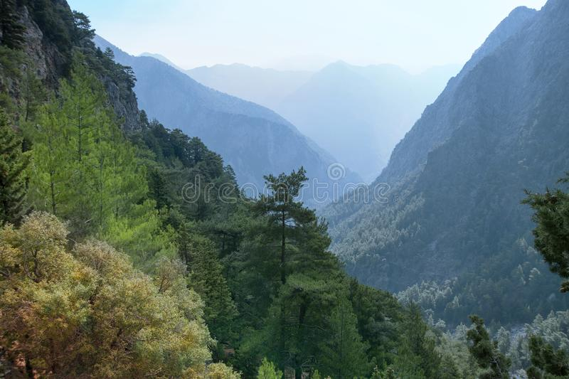 Beautiful mountain landscape. View of the mountains and sky. Samaria Gorge. Crete island in Greece. stock images
