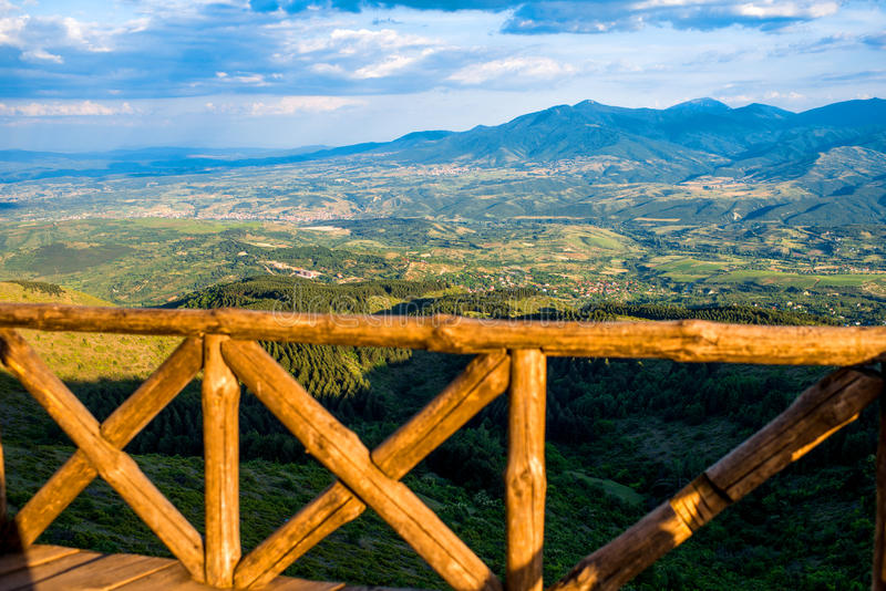 Beautiful mountain landscape view from the terrace stock photography