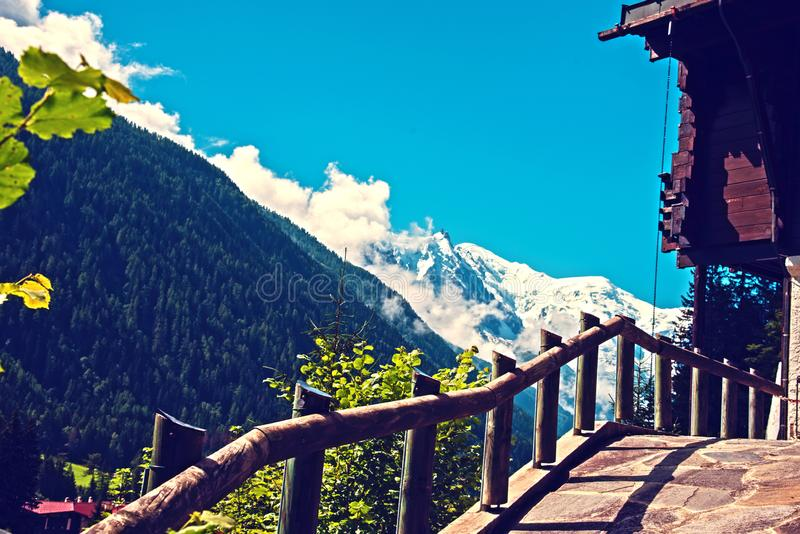 Beautiful mountain landscape with views on massif Mont Blanc royalty free stock image