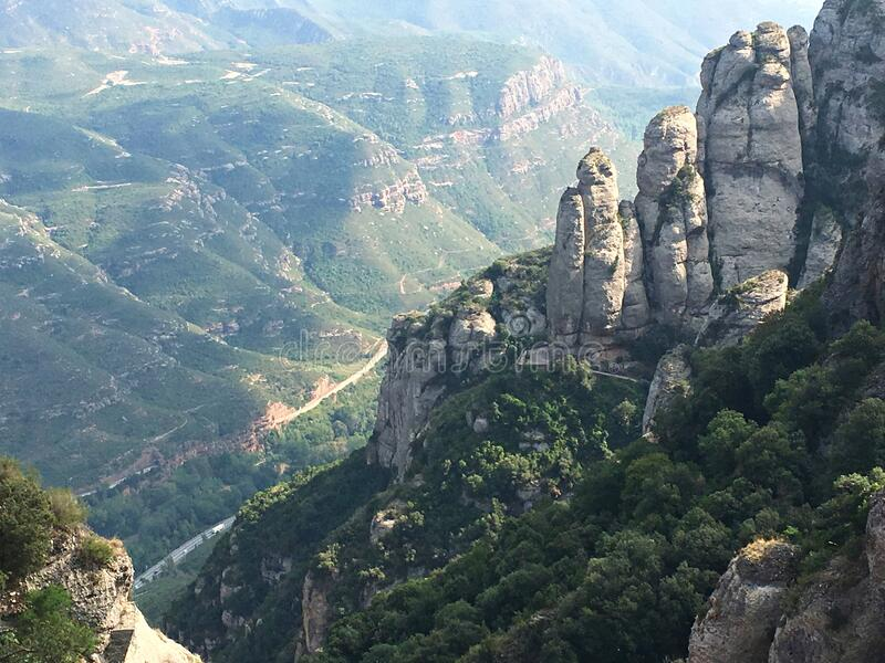 The beautiful mountain peaks of Montserrat in October near the city of Barcelona.  stock photography