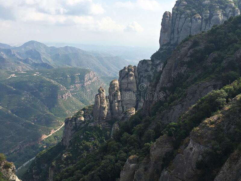 The beautiful mountain peaks of Montserrat in October near the city of Barcelona.  stock images