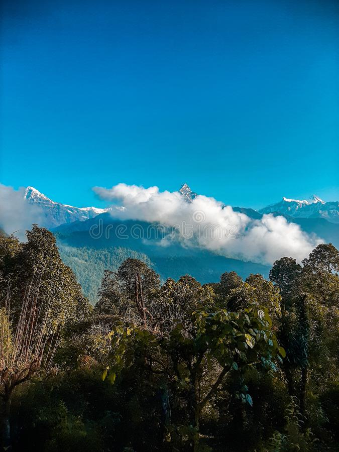 Beautiful mountain range in the hills of Nepal. stock photo