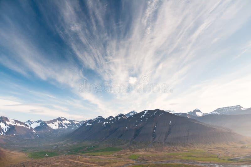 Beautiful mountain range on Iceland. Under impressive sky stock photography