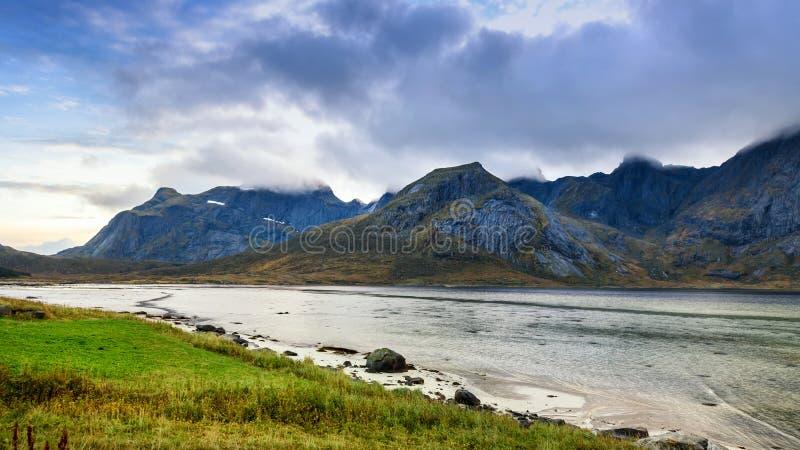 Beautiful mountain range landscape, Lofoten, Norway stock photo