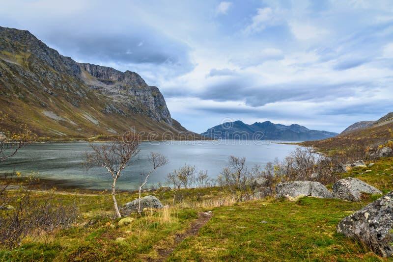 Beautiful mountain range and sea landscape, Tromso, Norway royalty free stock photos