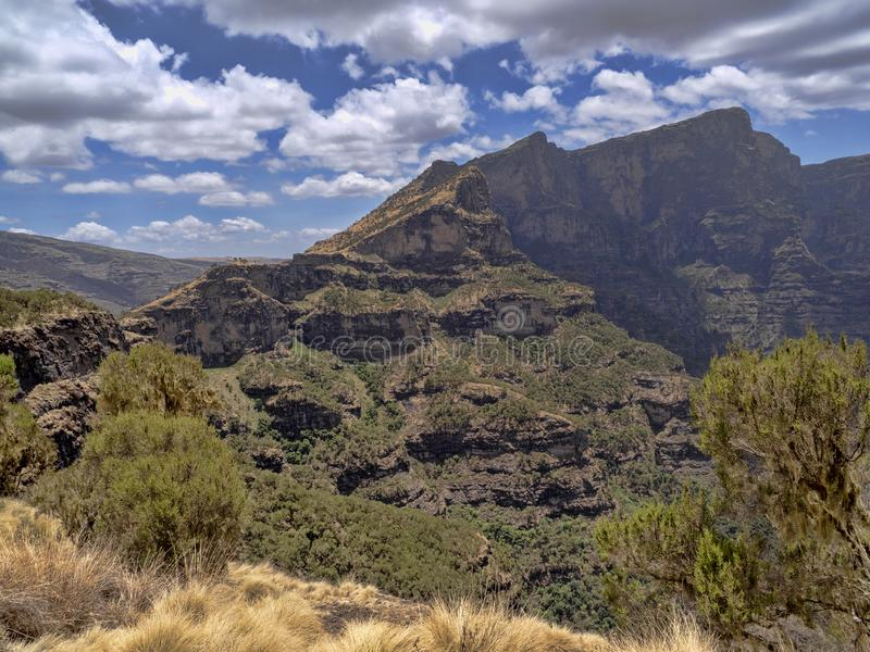 Beautiful mountain range in Simien Mountains National Park in Ethiopia stock photography