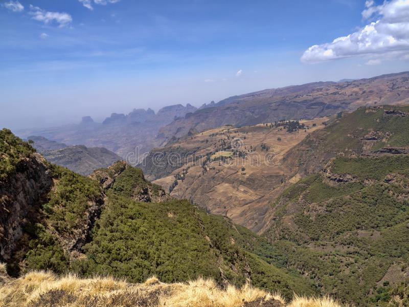 Beautiful mountain range in Simien Mountains National Park in Ethiopia stock images