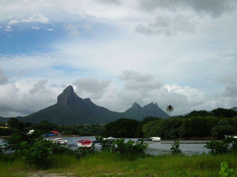 Beautiful mountain range in Tamarin beach, Mauritius. Beautiful mountain range in Tamarin beach stock photos