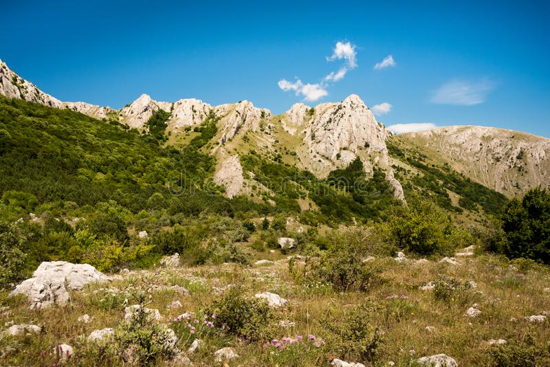Beautiful mountain ridge on sunny day royalty free stock images