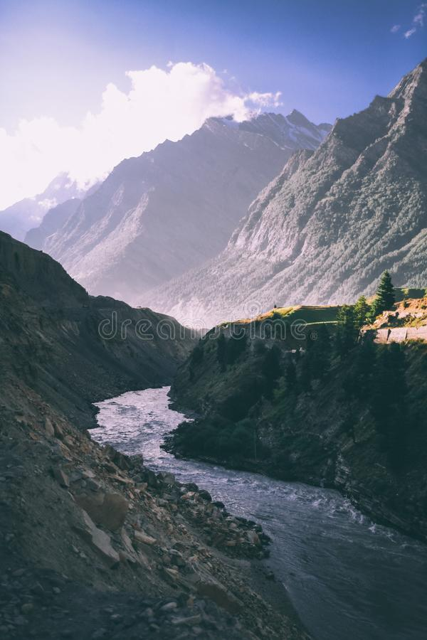 beautiful mountain river in valley and majestic mountains in indian himalayas, royalty free stock photo