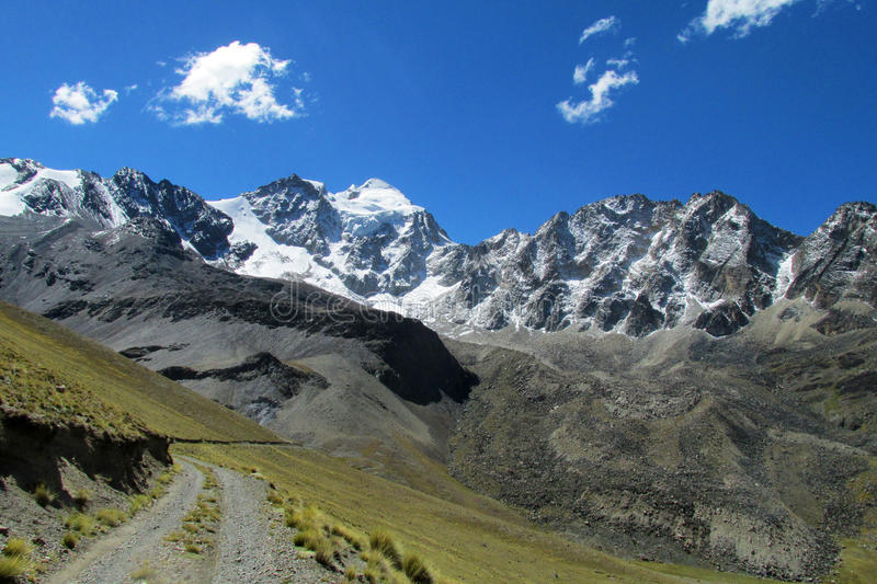 Beautiful mountain road in the Andes, Cordillera Real, Bolivia royalty free stock photography