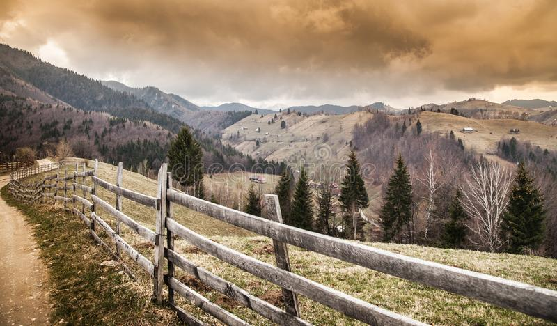 Beautiful mountain scene before a powerful storm royalty free stock photos