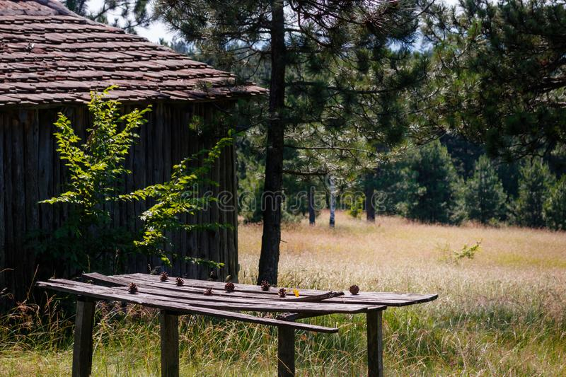 Old wooden cottage in the mountains royalty free stock photos