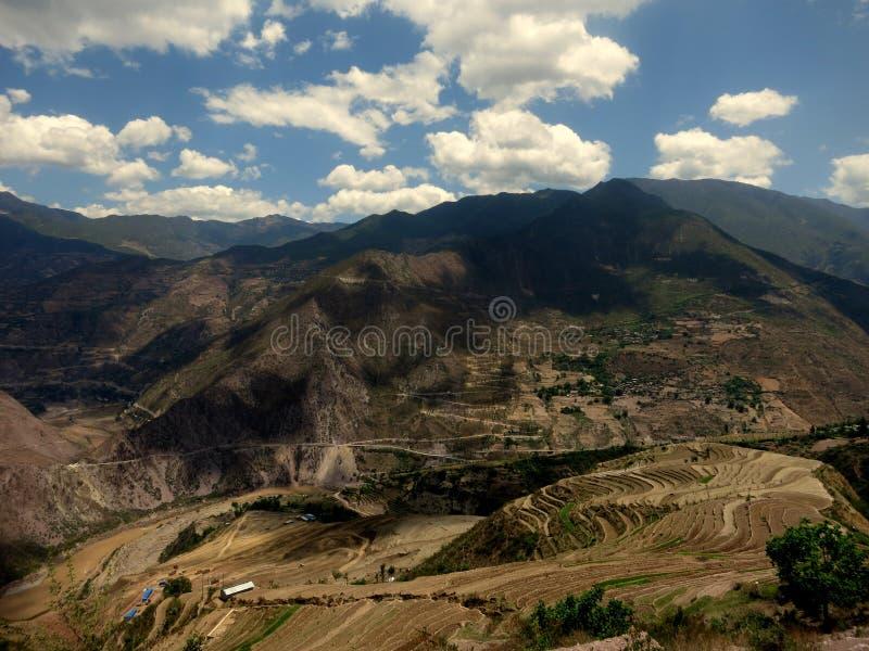 Beautiful mountain scenery in hinterlands of Yunnan stock image