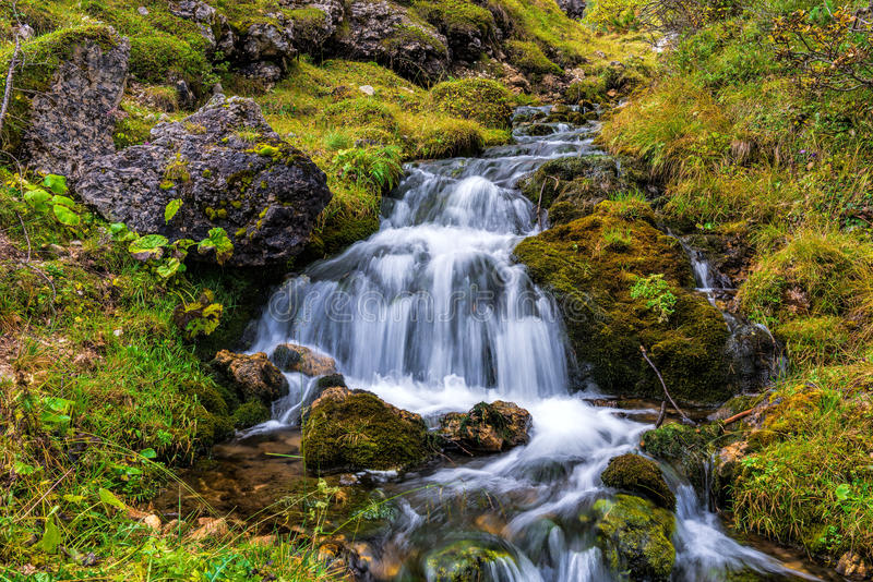 Beautiful mountain stream in the Dolomites.  stock photo