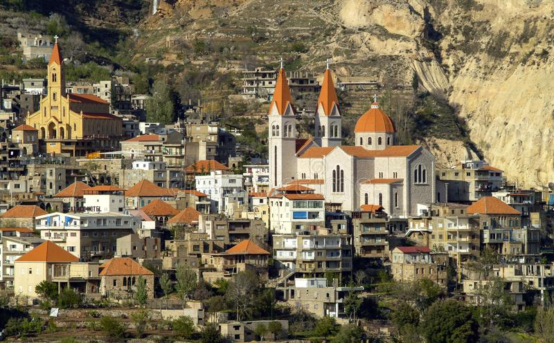 The beautiful mountain town of Bcharre in Lebanon. A close-up view of Bcharre, a town in Lebanon high in the mountains on the edge of the Qadisha Gorge royalty free stock photo