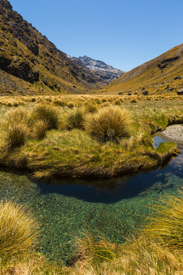 Beautiful mountain valley landscape with stream stock image