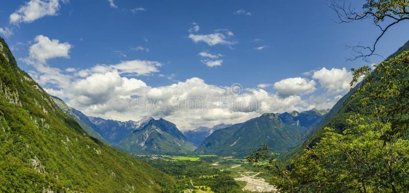 Beautiful mountain valley panorama. Soca valley near Bovec, Slovenia royalty free stock photo