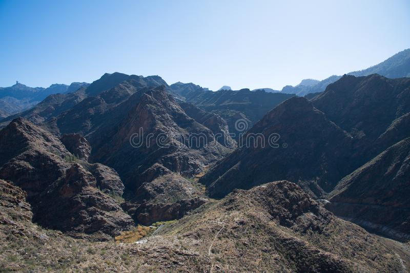 View from Mirador Del Molino. Beautiful mountain view from Mirador Del Molino in Gran Canaria, Spain stock photography