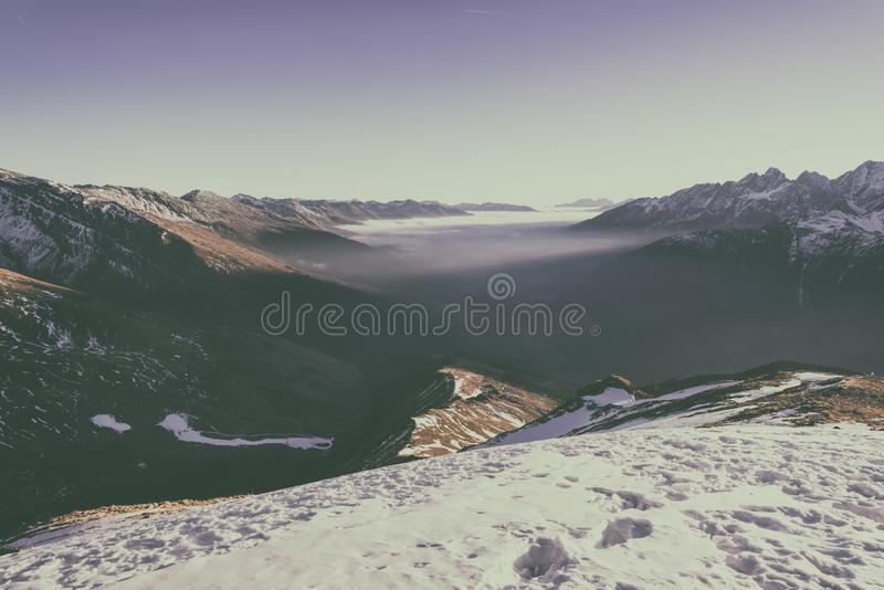 Beautiful mountain winter sunset landscape with panoramic view, Alps, Hohe Tauern national park, Austria stock photography