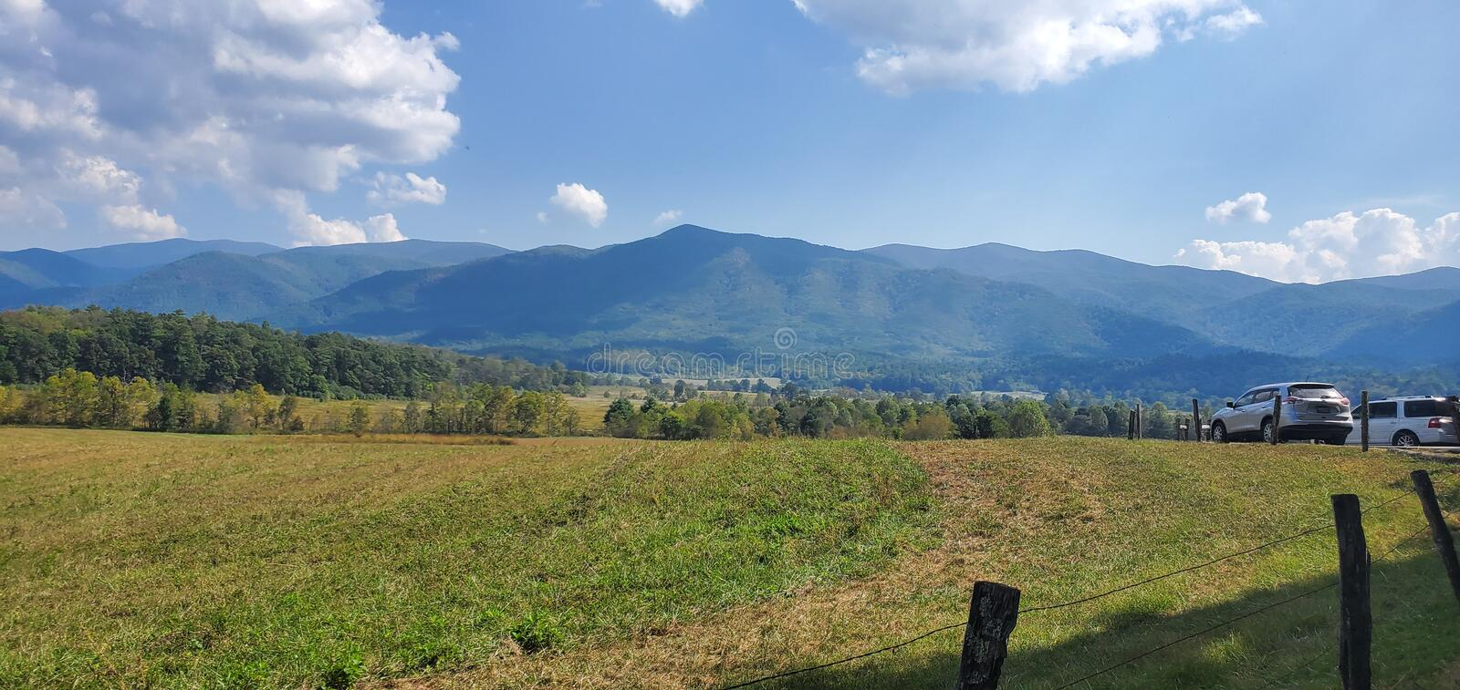 Beautiful mountains of Cades Cove Tennessee stock images