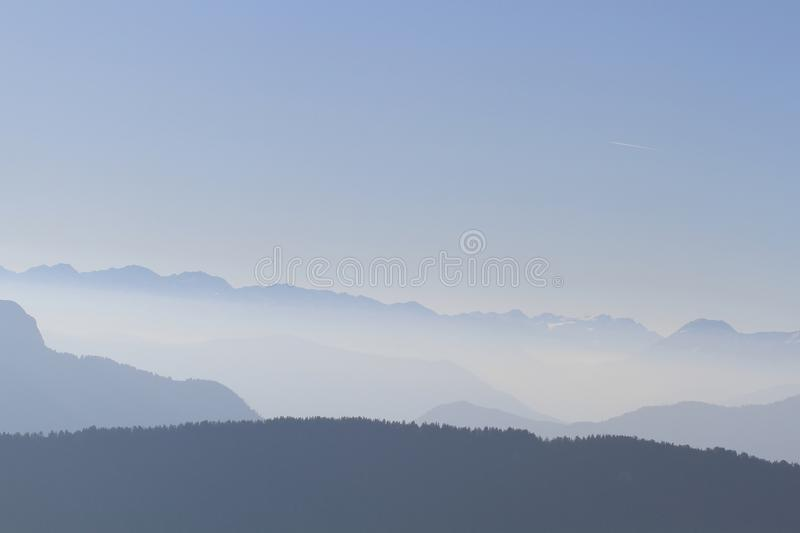 Beautiful mountains french alps with blue sky royalty free stock image