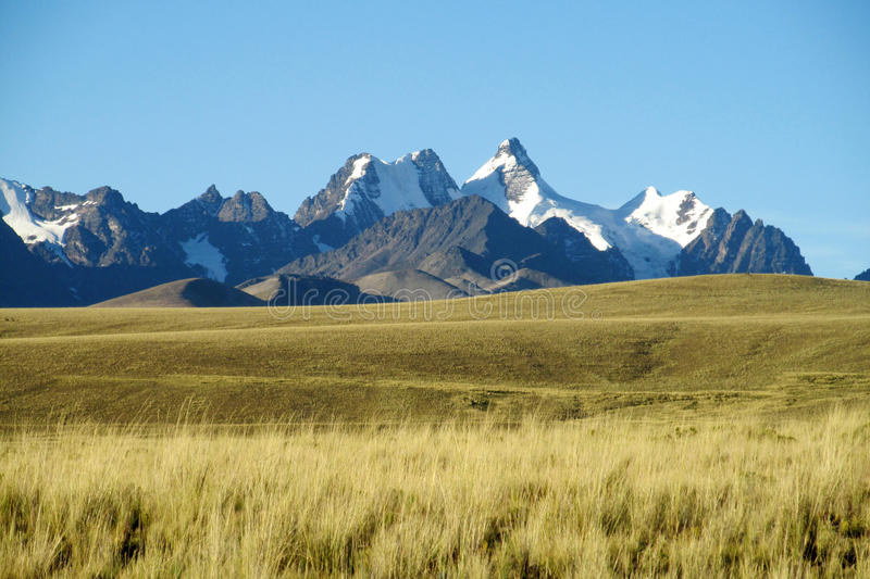 Beautiful mountains view across the field in the Andes, Cordillera Real, Bolivia royalty free stock images