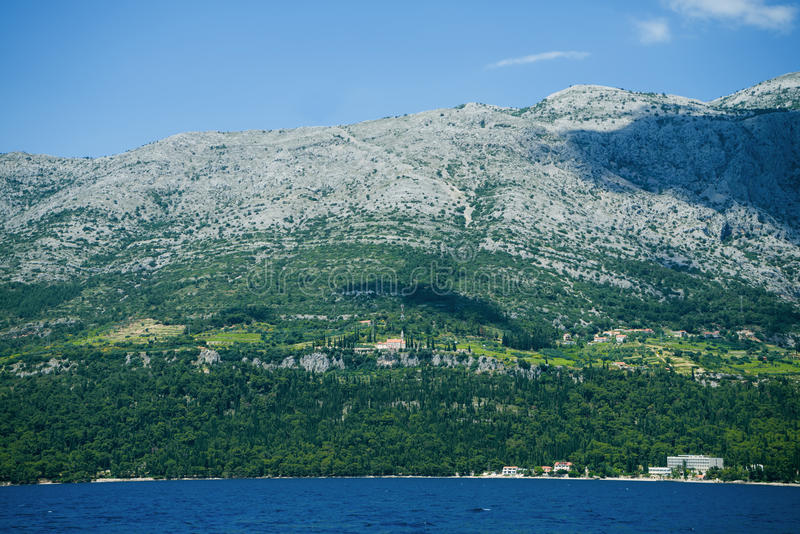 Beautiful mountin is in wondeful country. Traveling, yachting, vacation royalty free stock photos