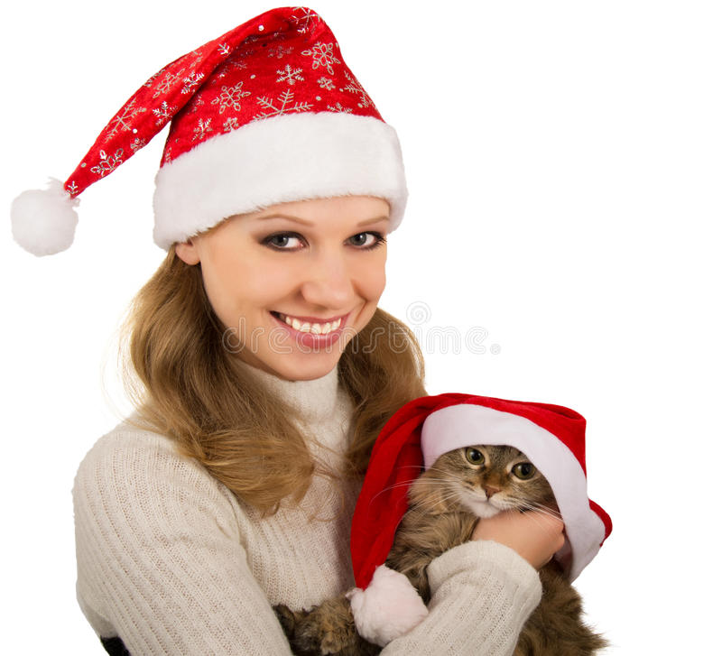 Download Beautiful Mrs. Santa With Lovely  Kitten Stock Image - Image of adult, background: 21346565