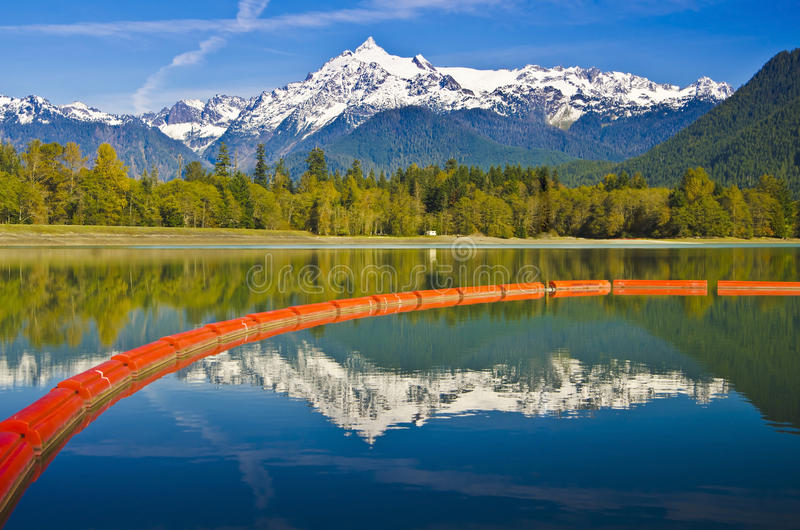 Beautiful Mt Baker reflection and The Baker lake dam royalty free stock photo