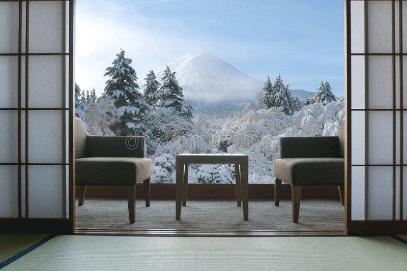 Beautiful Mt.Fuji view at window resort near Kawaguchiko lake at stock image