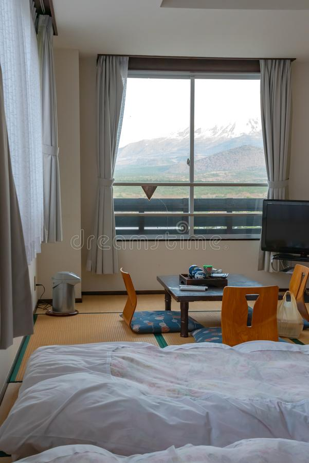 Beautiful Mt.Fuji view at window. Resort near Lake Shoji ( Shojiko ). stock photo