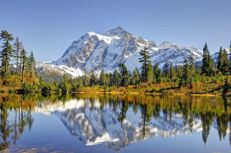 Beautiful Mt. Shuksan Reflecting on Picture Lake royalty free stock image