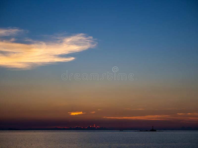 Beautiful, multi-colored clouds at sunset stock images