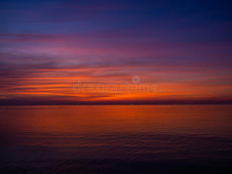 Beautiful, multi-colored clouds at sunset stock photography