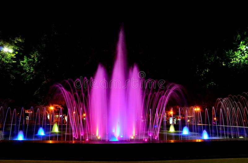 Beautiful multi-colored musical fountain in Kharkov, Ukraine.  stock photography
