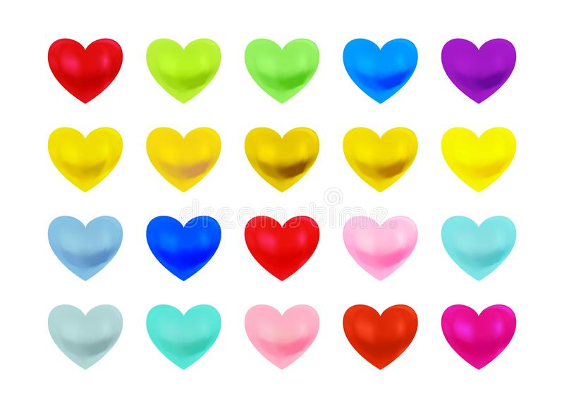 Beautiful multi coloured heart collection. royalty free stock photo