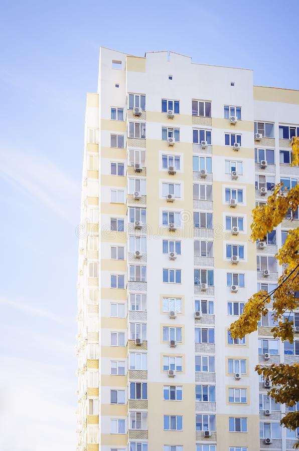 A beautiful multi-storey house , elements of a modern new residential building. Vertical photography. Close-up stock images
