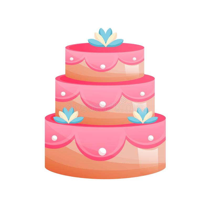 Beautiful multi-tiered, festive, wedding cake. Sweet baked desserts. Delicious food. Vector illustration isolated vector illustration