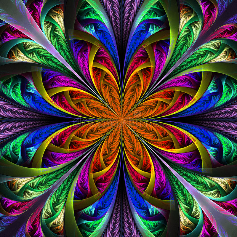Fractal Black Flower Free Stock Photo: Beautiful Multicolor Fractal Flower. Computer Generated