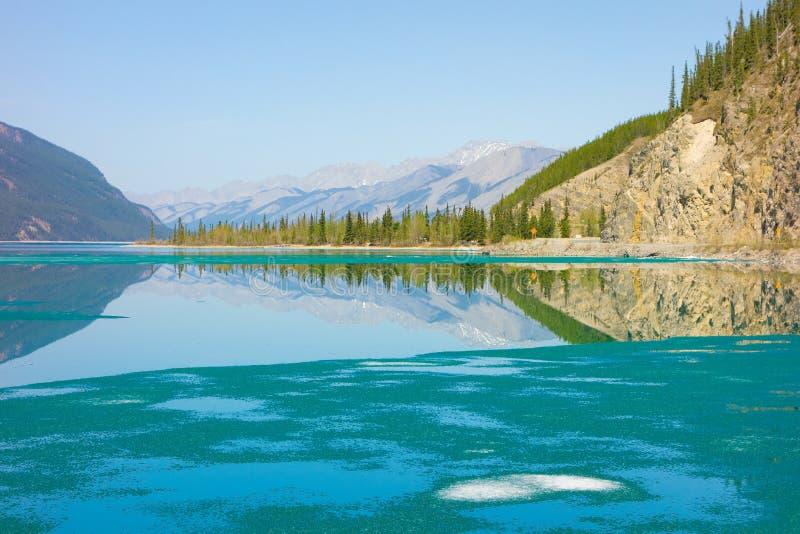 Beautiful muncho lake in british columbia stock photos