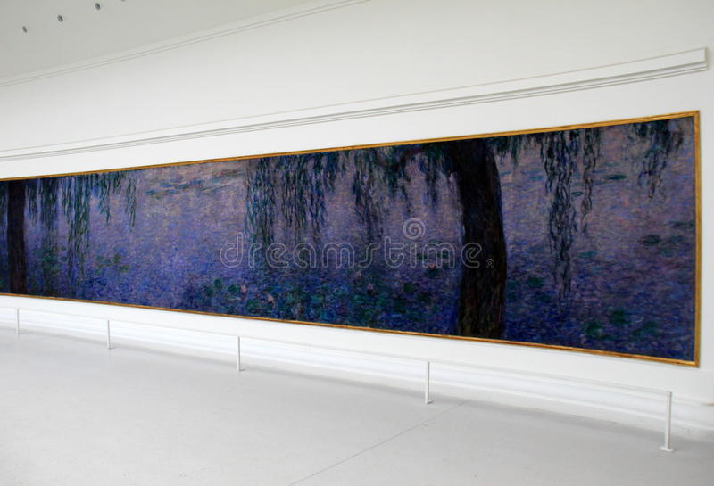 Beautiful mural depicting Monet's 'Water Lilies' seen inside Musee de l'Orangerie,Paris,France,2016 royalty free stock photography