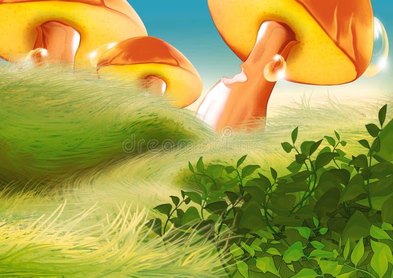 Beautiful mushrooms. Highly detailed cartoon background 05 - illustration